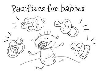 Pacifiers for Babies. Kids Health. Graphic hand drawn sketch in vector.