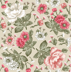 Peonies. Classic pattern. Beautiful pink flowers isolated realistic. Vintage background with blooming flowers. Drawing, engraving. Freehand. Wallpaper. Vector victorian style Illustration.