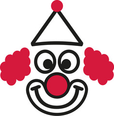Funny clown face with hat