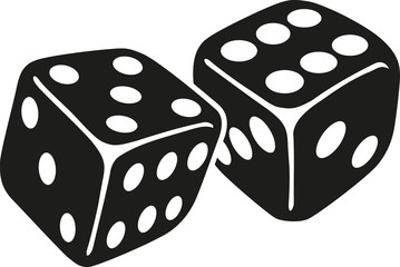 Two dice with number five and six