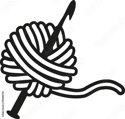 "Yarn Clipart Black And White ""Crochet needle w..."