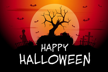 Halloween background with bats,zombie and spooky tree vector illustration