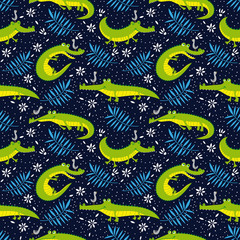 Background. pattern with funny crocodiles