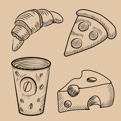 food, croissant, coffe cup, cheese, and pice of pizza. hand drawn set of pictures. Eps 10 vector illustration