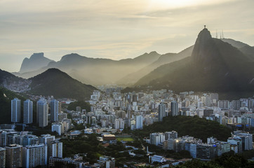 Aluminium Prints Rio de Janeiro Aerial view of buildings on the beach front, Botafogo, Guanabara Bay, Rio De Janeiro, Brazil