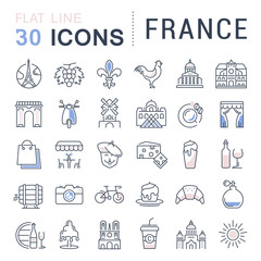 Set Vector Flat Line Icons France and Paris