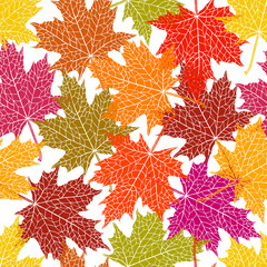 Vector seamless pattern of silhouette of a hand-drawn inversion maple leaf. Trace ink drawing of a tree leaf seamless texture in different shades of autumn. For seasonal, holiday design. Botanical.