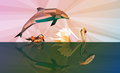 Water is our LIFE - Four water animals background in movement in LOW POLY design - Vector format