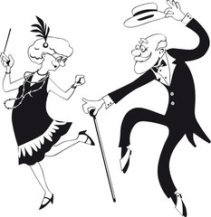 Fototapete - Vector line art of a cartoon elderly couple dancing the Charleston, EPS 8, no white objects