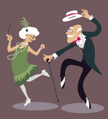 Fototapete - Cartoon elderly couple dancing the Charleston, EPS 8 vector illustration