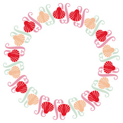 Color round frame with shells. Vector clip art.