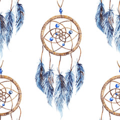 Watercolor ethnic tribal hand made feather dream catcher seamless pattern