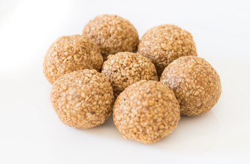 Sesame seed laddoo, a popular Indian sweet made of Ghee, Sesame seeds and Jaggery