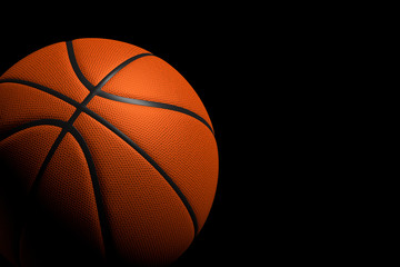 Basketball Ball on Black Background, 3D Rendering