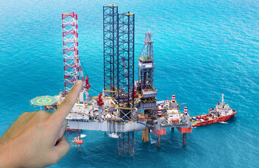 Offshore oil rig drilling platform in the gulf,Industrial and business concept