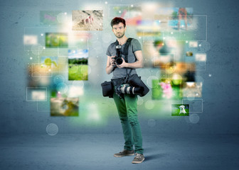 Photographer with pictures from the past