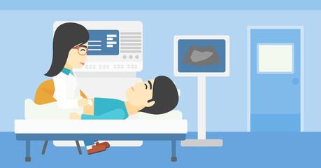 Patient during ultrasound examination.