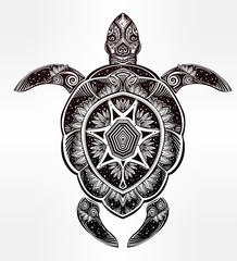 Ornate turtle in tattoo style.