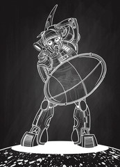 Illustration of a Gladiator Robot with a shield and Battle Axe