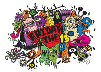 Friday 13 grunge illustration with doodle ghost background