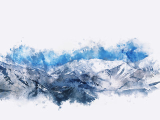 Mountains landscape in winter, digital watercolor painting