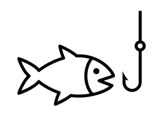 Fishing a fish with hook lure line art icon for apps and websites