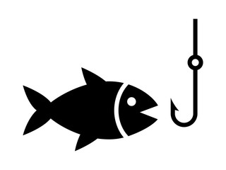 Fishing a fish with hook lure flat icon for apps and websites