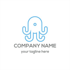 octopus smart phone logo vector