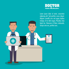doctor avatar woman man medical health care icon. Colorfull and flat illustration