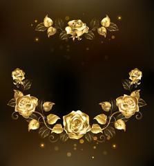 Symmetrical garland of gold roses