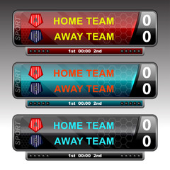 icons scoreboard design for football and soccer, vector illustration