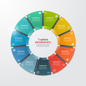 Pie chart circle infographic template with 11 options. Business concept.