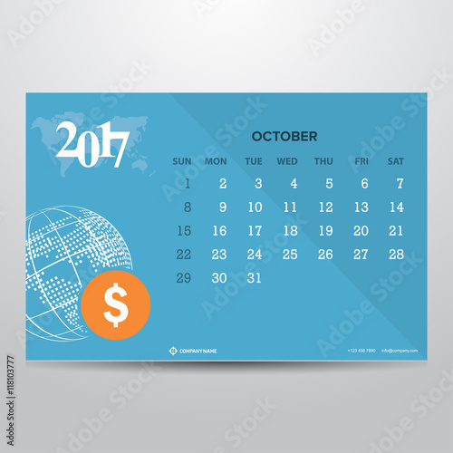 Calendar for october 2017 on blue background world globe with calendar for october 2017 on blue background world globe with dollar icon technology banner with publicscrutiny Images