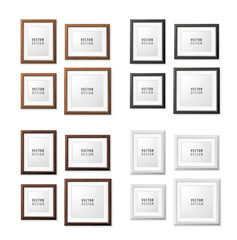 Set of Realistic Minimal Isolated Frames on White Background for Presentations. Vector Elements.