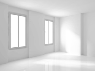 White Empty Room Interior With Two Windows