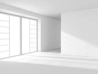 Abstract White Empty Room Interior With Window