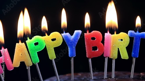 Lighted Candles On A Happy Birthday Cake With The Words Chocolate Hand Lights Candle Stock Footage And