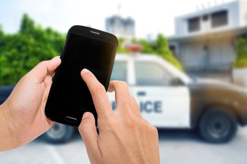 Smartphone with police car.