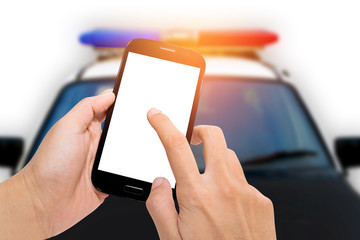 Smartphone with police car on white background