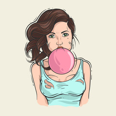 Girl with chewing gum