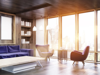 Living room corner with sunlight