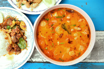 Thai Food Tom Yum Goong,Thai popular soup.
