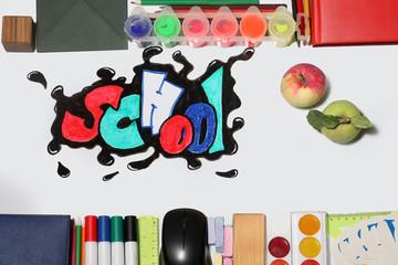 graffiti school word and supplies