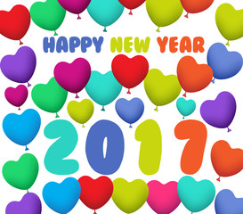 Happy New Year 2017 background with balloons colorful.