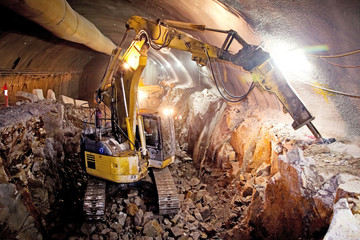 Hydraulic Hammer Excavator - Concrete Road Tunnel Construction