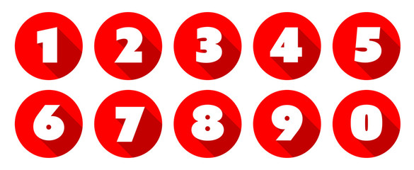 Numbers / Red circle Icons