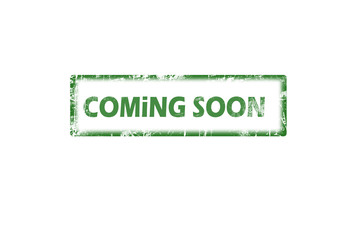 Coming soon grunge rubber stamp on white
