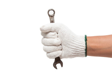 lding a spanner isolated on a white background