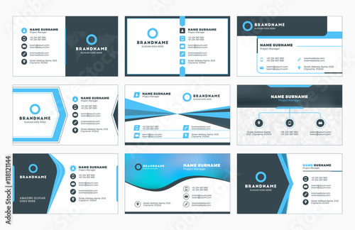 Set of modern business card print templates. Personal visiting card ...