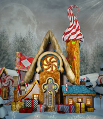 Gingerbread house in a snowy enchanted scenery